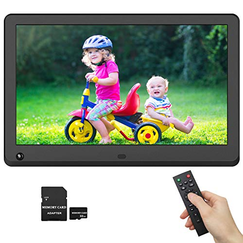 Digital Picture Frame 12 Inch IPS Screen 1920x1080 16:9 Photo Auto Rotate, Motion Sensor Detection, 1080P Video Frame, Auto Turn On/Off, Auto Play, Background Music, Include 32GB SD Card