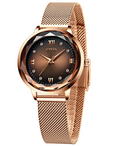CIVO Damenuhr Roségold Damen Uhr Wasserdicht Armbanduhr Lässige Analoge Edelstahl Mesh Uhren für Damen Frauen Mädchen Elegant