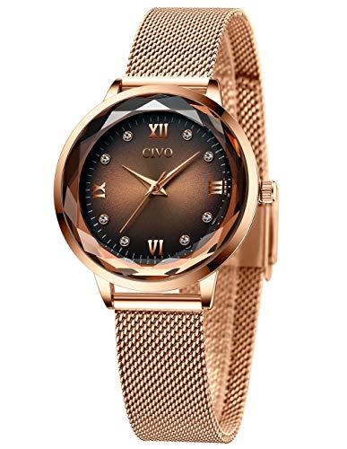 CIVO Relojes Mujeres Oro Rosa Impermeable de Acero Inoxidable Reloj Mujer de Pulsera Marea Vestido Lujo Relojes Analógicos con Esfera Marrón para Mujeres Damas Niñas