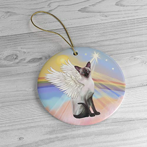 Siamese (Chocolate Point) Angel in Heaven Heirloom Ceramic Ornament Personalized with Name and Year 3' Ceramic Ornament