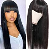 Xagujpo Hair Straight Human Hair Wigs with Bangs 130% Density Brazilian Virgin Straight None Lace Front Wigs Human Hair Glueless Machine Made Wigs for Black Women Natural Black (straight wigs, 16inch)