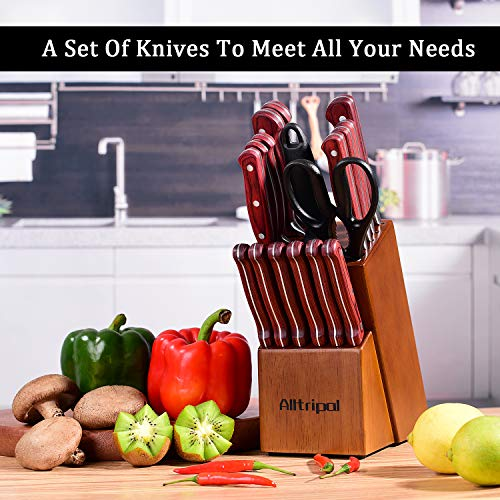Knife Set, Premium 18-Piece Kitchen Knife Set with Block made of High Carbon German Stainless Steel with Knife Sharpener