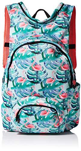 Morikukko Unisex-Erwachsene Hooded Backpack Rucksack, Mehrfarbig (Basic Flamingo), 33x8x40 Centimeters