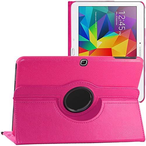 ebestStar - kompatibel mit Samsung Galaxy Tab 4 10.1 Hülle SM-T530, T533 T531 T535 Rotierend Schutzhülle Etui, Schutz Hülle Ständer, Rotating Hülle Cover Stand, Pink [Tab:243.4x176.4x8mm 10.1