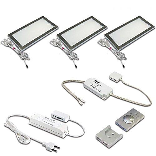 Hera LED-Unterbauleuchten-Set, Metall, Edelstahl-optik, 21 x 11 x 1 cm, 6 Einheiten