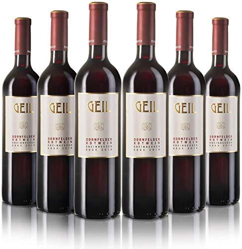 6 Flaschen Dornfelder Rotwein 2020 | lieblich/süß | Oekonomierat Johann Geil Erben | Reihnhessen | Deutscher Wein