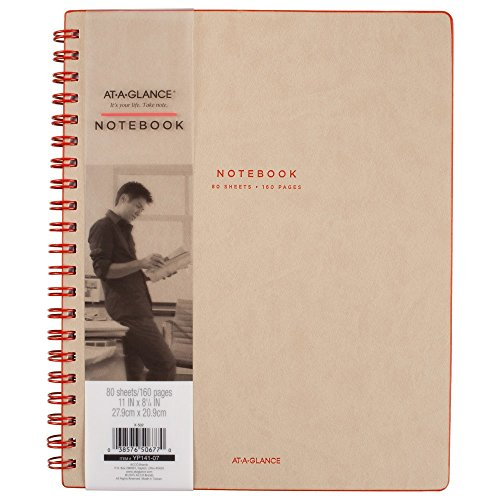 AT-A-GLANCE Collection Twin Wire Notebook, Ruled, 80 Sheets, 11' x 8 3/4', Tan/Red (YP14107)