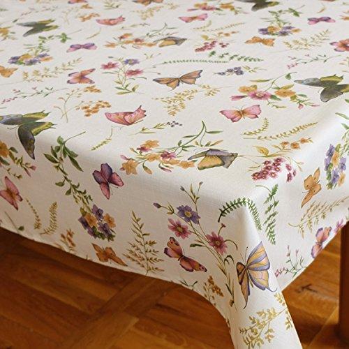 Kamaca Serie Schmetterlinge AUF DER BLUMENWIESE in Creme mit zarten Pastelltönen EIN Schmuckstück in jedem Raum (Tischdecke eckig 130x170 cm)