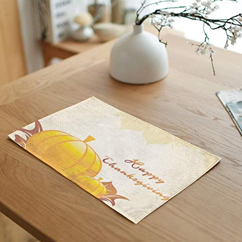 Yellow Placemats Indoor Dining 4, Happy Thanksgiving Pumpkins Placemats for Outdoor Dining Table Heat Resistant 32x45cm