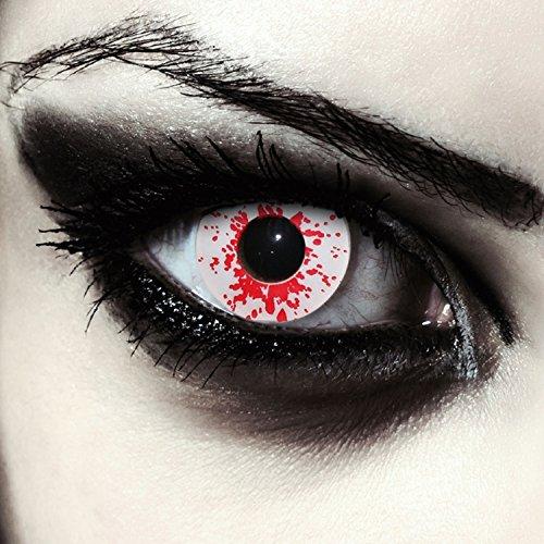 """Designlenses, Dos lentillas de color blanco y rojo sangriento para Halloween zombie disfraz lentes sin dioprtías/corregir + gratis caso de lente """"Blood Splash"""""""