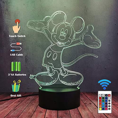 Mickey Minnie Figuren Fee 3D Cartoon Maus LED Kinder Nachtlicht RGB 7 Farben ändern Jungen Mädchen Schlafzimmer Dekor Lampe Kiddie Kinder Baby Weihnachten Geburtstag Weihnachtsgeschenke