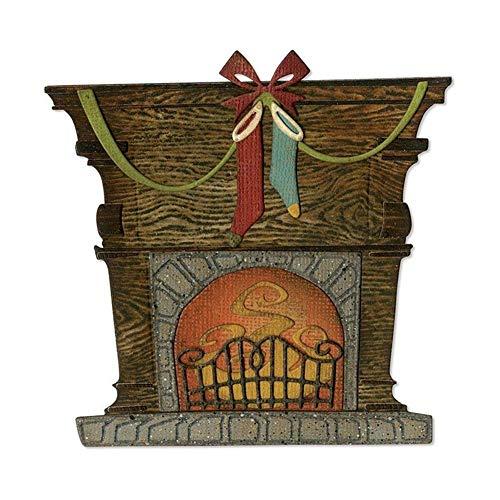 P12cheng Metallstanzschablone, Weihnachts-Kamin, Stanzschablone für DIY Scrapbooking Papier Karten Basteln Prägung Weihnachten Karte Handwerk Dekoration, Karbonstahl, Silver