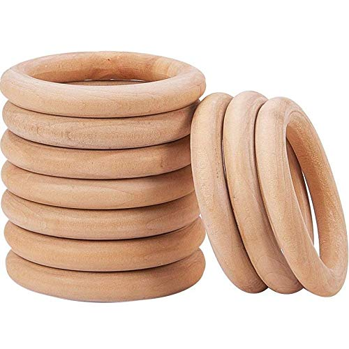 Onwon 10 Pieces Wooden Rings Natural Wood Rings Without Paint Smooth Unfinished Wood Circles for Craft DIY Baby Teething Ring Pendant Connectors Jewelry Making (70mm)