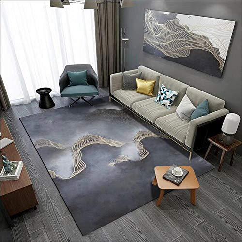centro de mesa decorativo comedor gris Alfombra de sala de estar gris abstracto patrón de nubes alfombra suave duradera muebles sala de estar 180X280CM alfombra antideslizante 5ft 10.9''X9ft 2.2''