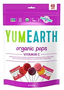 YumEarth Organic Vitamin C Lollipops, 40 lollipops per Pack, 8.7 Ounce (Pack of 1) - Allergy Friendly, Non GMO, Gluten Free, Vegan (Packaging May Vary) from Yummy Earth