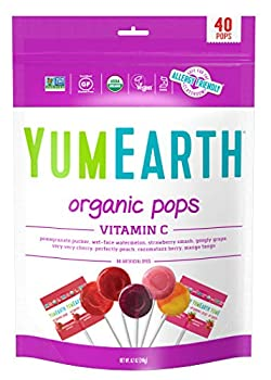 YumEarth Organic Vitamin C Lollipops 40 lollipops per Pack 8.7 Ounce  Pack of 1  - Allergy Friendly Non GMO Gluten Free Vegan  Packaging May Vary