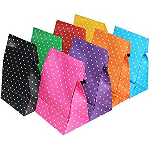 Kurtzy Gift Bags - 24 Pcs Paper Gift Bags - Kraft Bags for your Birthday Party, Baby shower, Wedding and more!- Coloured Paper Bags - Gift Paper Bags - Easy to Carry Packs of Cookies, Grocery etc:Btc4you
