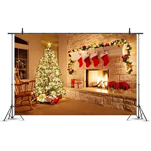 Fotografie-achtergrond Kerstmis achtergrond kerstdecoratie open haard sok kerstboom achtergronden voor fotografie gelukkig nieuw jaar vinyl foto achtergrond baby-portretfoto booth gebur