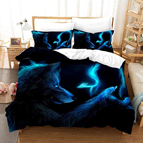 QXbecky Halloween Werewolf Death Skull   Knight Flame 3D Printing Microfiber Thermal Bedding Quilt Cover Pillowcase 3-Piece Set