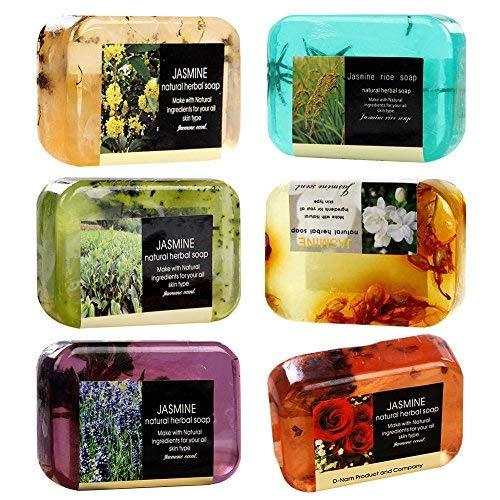 Natural Jabón – 1PCS Jabón de hierbas con Romero, lavanda, Árbol de Té y Rose, hecha, Handgemachte bio Jabón con bio mandelöl y Bio Manteca, Cuidado Facial Y corporal Cuidado (colores aleatorios)