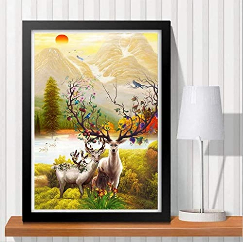 MYLOOO 5D DIY Diamant Malerei Tier Icon Diamant Kreuzstich Landschaft Deer Diamant Mosaik Diamant Stickerei Wandaufkleber 40X60 cm B07JJ653RG | Starke Hitze- und Abnutzungsbeständigkeit