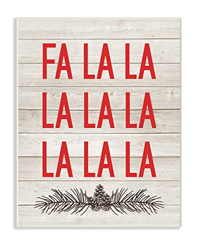 The Stupell Home Décor Collection Christmas Deck The Halls FA La Wall Plaque Art, 10' x 15'