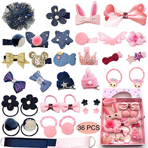Baby Girl#039s Hair Clips Cute Hair Bows Baby Elastic Hair Ties Hair Accessories Ponytail Holder Hairpins Set For Baby Girls Teens Toddlers Assorted styles 36 pieces PackPH0053B