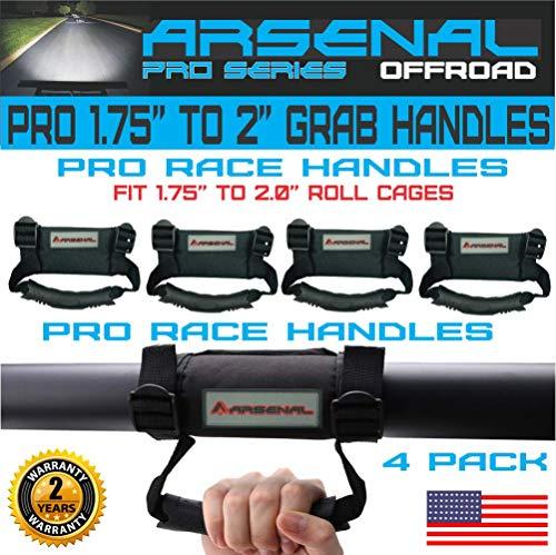 "Arsenal UTV ATV Grab Handle Hand Holds Black 1.75"" to 2"" Polaris RZR 900 XP 1000 Turbo Kawasaki Arctic Cat Wildcats Can Am Maverick X3 Yamaha YXZ (4 PK)"