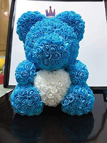 L.TSN Estatua Adornos Esculturas Jabón Yongsheng Flor Muñeca Oso Mediano Flor Rosa Oso PE Flor Abrazo Oso Regalo del día San Valentín 0202 (Color: A15)