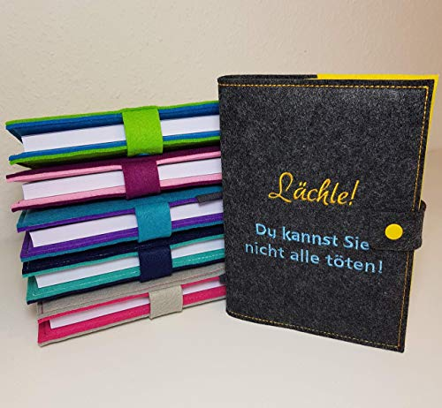 Kalender 2021 A5 mit Hülle aus Filz individuell bestickt - personalisiert - Buchhülle - Notizbuch - Organizer