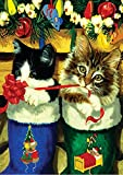 Toland Home Garden Stocking Kittens 12.5 x 18 Inch Decorative Christmas Holiday Cat Gift Ribbon Garden Flag