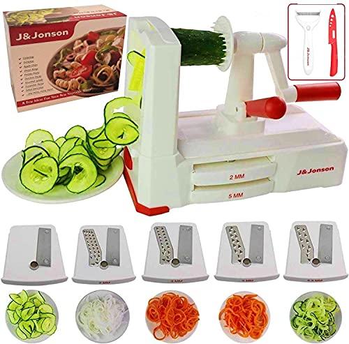 Vegetable Spiralizer Slicer 5 Blade No Move Suction Pads Strong And Durable Veggie Pasta Spaghetti Maker W Blade Drawer Bonus Ceramic Knife& Peeler
