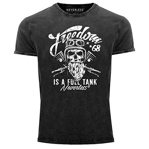 Neverless® Herren T-Shirt Vintage Shirt Printshirt Biker Spruch Motiv Totenkopf Used Look Slim Fit schwarz L