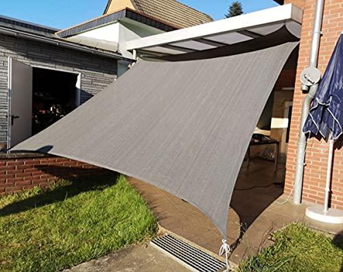 LJP Sonnensegel Sonnenschutz Schattenspender terrasse Garten gewächshaus Wasserdicht Wetterschutz 95{ed69f7d3c8f000ec6ba23a47469e005b376e18d5220a178ee7e9e2756e619710} UV-Schutz Grau Festes Material Oxford-Tuch Viele Größen2.5x3m