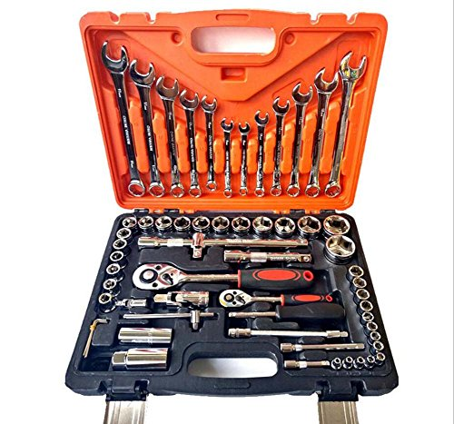 Set met 61 behuizing, chroom-vanadium-staal, auto-reparatie en auto-reparatiemachine, combinatie gereedschap-behuizing, gereedschapsset, gereedschapshoes, dopsleutel