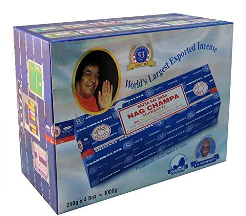 Sai Baba Nag Champa - Incienso (1000 g, 4 Paquetes)