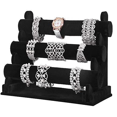 Soporte de pulsera 3 niveles Negro Pulseras de reloj Soporte de joyería de terciopelo Organizador Scrunchy Exhibición de reloj Soporte de exhibición de joyería Soporte para mostrar relojes Brazaletes