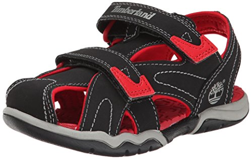 Timberland Adventure Seeker Closed Toe T Dress Sandal (Toddler/Little Kid),Black/Red,4 M US Toddler