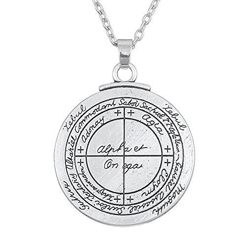 Skyrim Wicca Amuleto de Doble Cara de Cuervo con talismán para Good Luck Colgante Collar joyería para Unsex para Adultos