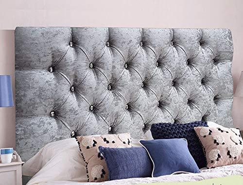 Cabeceros de cama de Serenity de terciopelo arrugado ornamental con cristal de diamante, piezas con un marco resistente, terciopelo, Plateado, King Size 5 FEET, Height 20 INCHES
