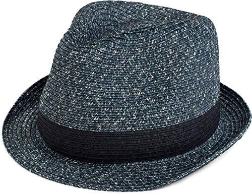styleBREAKER klassischer Trilby Hut in Melange Optik mit Krempe, Papierhut, Strohhut, Unisex 04025018, Farbe:Navy, Größe:S/M = 56 cm