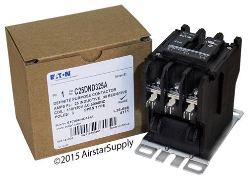 Replacement for Square D 8910DPA23V02 - Replaced by Eaton/Cutler Hammer C25DND325A 50mm DP Contactor, 3-Pole, 25 Amp, 120 VAC Coil Voltage