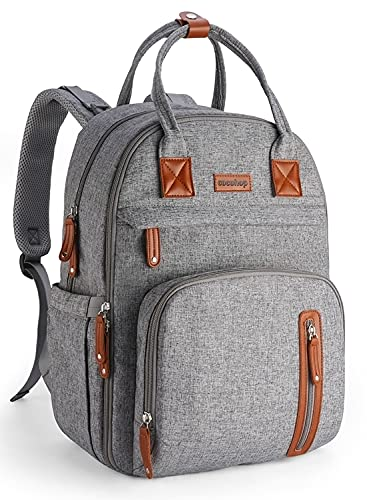 Diaper Bag Backpack, Multifunction Maternity Baby Nappy Changing Bags Large Capacity Waterproof Travel Back Pack with Stroller Straps & Luggage Strap, Unisex and Stylish (Grey)