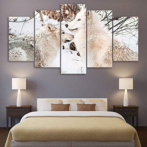 FGVBWE4R Leinwand Wandkunst Bilder Rahmen Küche Restaurant Dekor 5 Stück Wald Tier Weiß Schnee Wolf Wohnzimmer HD Gedruckt Poster-XXL