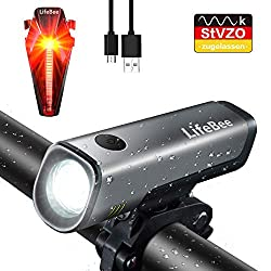 LIFEBEE LED Bicycle Light Set, StVZO Approved USB Rechargeable Bicycle Lights Bicycle Lights Set, IPX5 Waterproof Front Light Taillight Bicycle Lamp Set, 300Lumen Light for Bicycle