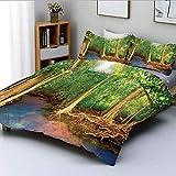 Juego de funda de edredón, raíces de árboles de mangle con decoración de vida silvestre, naturaleza asiática y turquesa Creek Juego de cama decorativo de 3 piezas con 2 fundas de almohada, verde marró