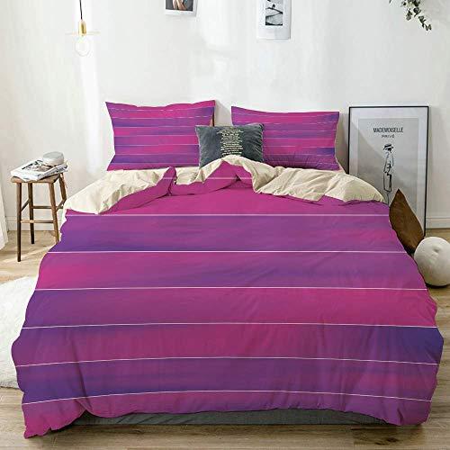 Bettbezug-Set Beige, Pink-Streifen-Streifen mit weichen Farben, dekoratives 3-teiliges Bettwäscheset mit 2 Kissenbezügen