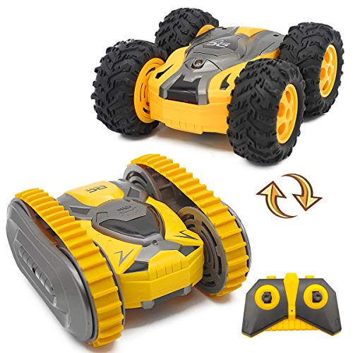 Fistone Remote Control Stunt Car 2.4G 4WD RC Crawler Truck, Track and Wheel Interchange 360 Degree Rotating Climbing Racing Off-Road Vehicle Toys for Boys Kids Age 8 10 12 Years Old