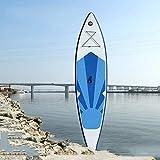 YUDIZWS Pulp Aufblasbaren Skier Surfbrett Paddle, Paddle Stehen Aufblasvorrichtung ISUP Surfbrett, Verstellbare Paddle, Sicherheitsseil,White Natural Clear