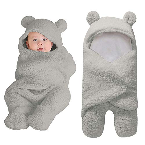 Neugeborenes Baby Wickeln Swaddle Schlafsäcke Wrap Decke Wickel Einschlagdecke (Grau)